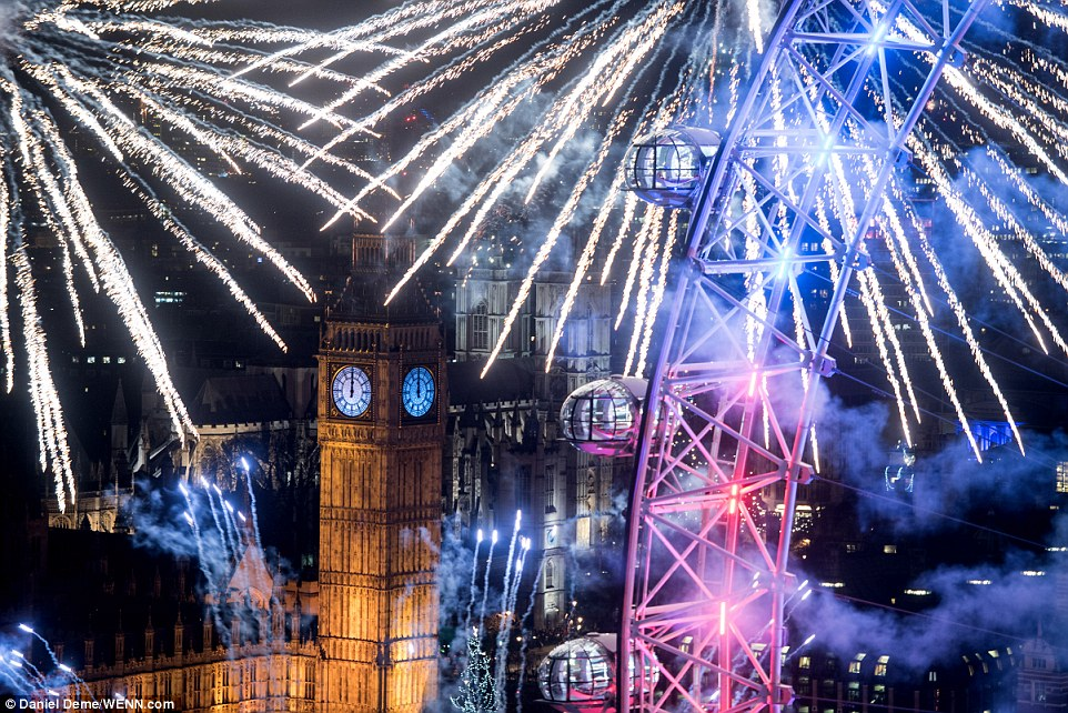 via So who did it better? Sydney splashes a record $7 million on its 'biggest and best' New Year's fireworks display while London explodes in colour from 12,000 separate crackers over Big Ben